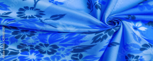 Valokuvatapetti texture, background, pattern, delicate blue silk with floral print Exceptionally lightweight pure silk fabric with a delicate texture