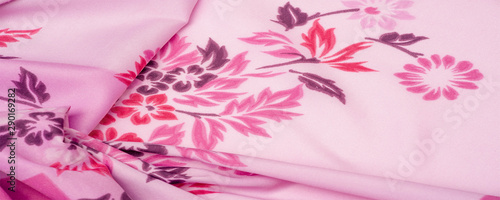 Valokuva  texture, background, pattern, delicate pink silk with floral print Exceptionally lightweight pure silk fabric with a delicate texture