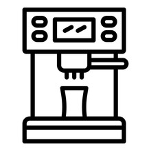 Coffee Machine Front Icon. Outline Coffee Machine Front Vector Icon For Web Design Isolated On White Background