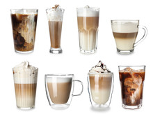 Set Of Delicious Coffee Drinks On White Background
