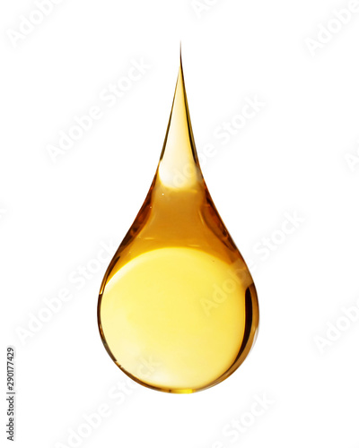 Photo  Drop of oil on white background