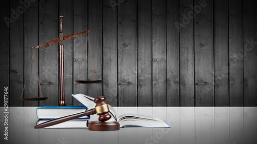 Printed kitchen splashbacks Amsterdam Law scales on table background. Symbol of justice