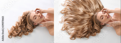 Stampa su Tela  Beautiful young woman before and after hair treatment on white background