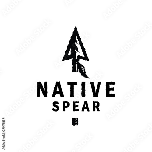Native Retro Hunting Logo Design Inspiration with arrowhead Wallpaper Mural