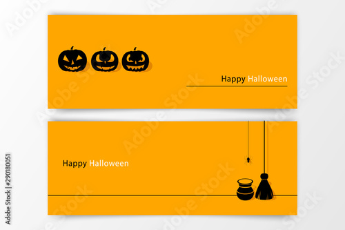 Fototapety, obrazy: Halloween hand drawn invitation or greeting Cards set. Vector illustration.