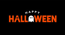 Happy Halloween Holiday Vector Text With Spider And Ghost Icons Illustration Over Black Background
