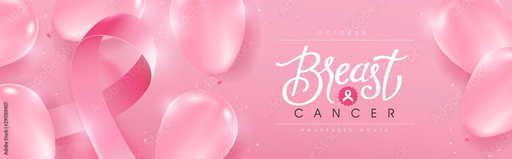 Fototapeta Breast cancer october awareness month pink balloons banner background,vector illustration