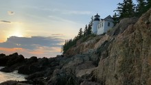 4K Bass Harbor Head Lighthouse In Bass Harbor, Maine At Sunset