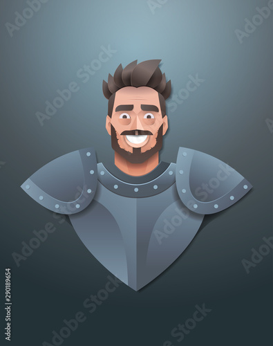 Photo smiling knight face avatar man wearing steel armor portrait trendy paper origami