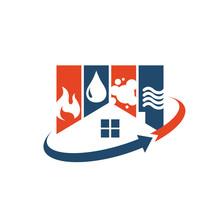 Home Restoration Logo Design A Property Maintenance House Renovation Icon Vector