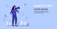 Female Police Officer Yelling Through Megaphone Policewoman In Uniform Using Loudspeaker Security Authority Justice Low Service Concept Sketch Full Length Horizontal Copy Space