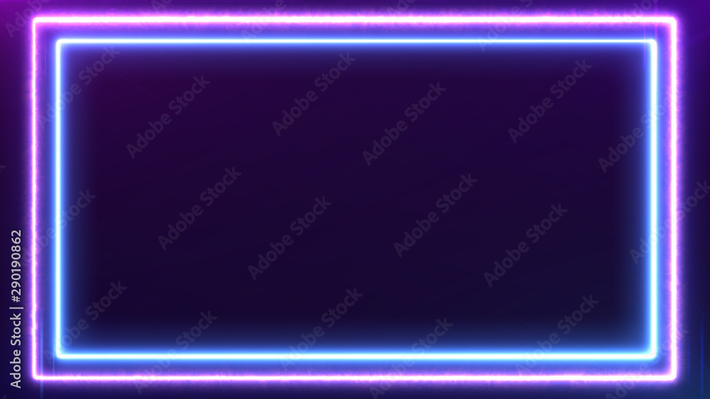 Fototapeta Abstract Neon bright colored frame square on a dark background. Laser show colorful design for banners advertising technologies