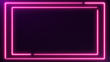 Abstract Neon Bright Colored Frame Square On A Dark Background. Laser Show Colorful Design For Banners Advertising Technologies