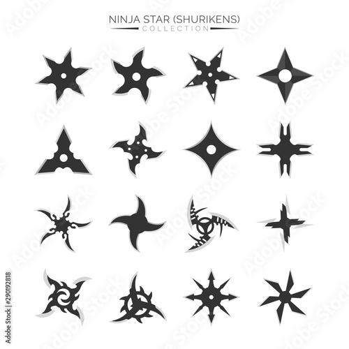 Obraz na plátně  Set of Ninja Star Silhouette, Shuriken Vector Illustration Design Collection
