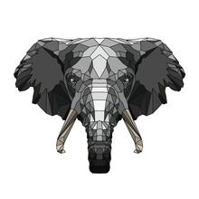 Hipster Animal Polygonal Elephant Face. Triangle Animal