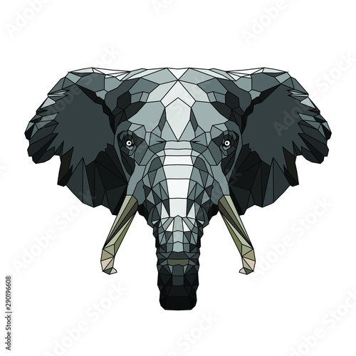 Hipster animal polygonal elephant face. Triangle animal фототапет