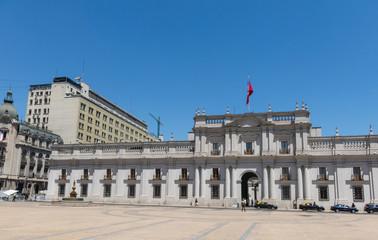 Fototapeta na wymiar View of the presidential palace, known as La Moneda, in Santiago, Chile