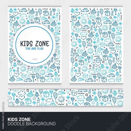 Flyer or brochure template with kids doodle background.