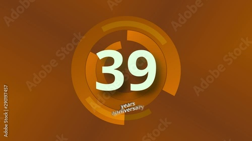 Photo  39 Years Anniversary Digital Tech Circle Gold Background