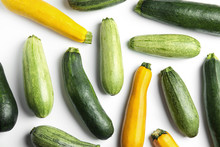 Fresh Ripe Zucchinis On White Background, Top View