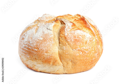 Fotografiet Loaf of fresh bread on white background