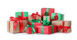 Leinwandbild Motiv Different Christmas gift boxes on white background