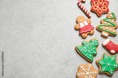 Fototapety, obrazy: Flat lay composition with tasty homemade Christmas cookies on grey table, space for text