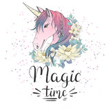 Magic time. Card with unicorn and flowers