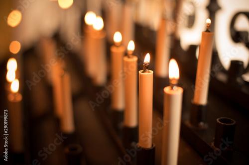 Obraz na plátně  Rows of burning candles