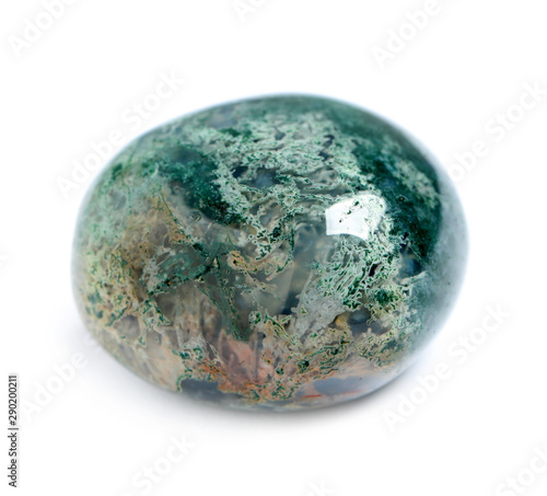 Beautiful moss agate gemstone on white background Tablou Canvas