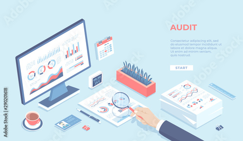 Auditing concepts. Businessman auditor inspects financial documents. Man's hand with magnifier. Monitor, graphics, charts, stack of documents. Workplace Workspace Desktop. Isometric 3d vector