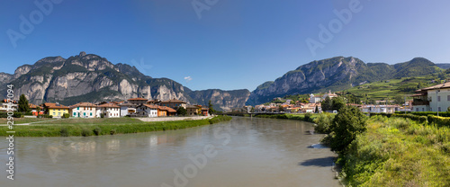scenic view to river Adige in the Alps at San Michele del Adige Canvas Print