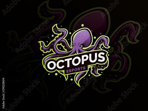 Obraz na plátne Octopus sport mascot logo design illustration