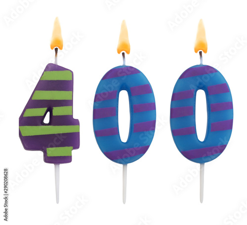 Burning birthday candles isolated on white background, number 400 Fototapete