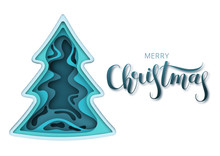 Paper Art Blue Fir-tree In Realistic Trendy Craft Style. 2020 Happy New Year. Christmas Holidays Background. Elements Of Design Material For Holiday Banner. Vector Illustration On White Isolated Backg