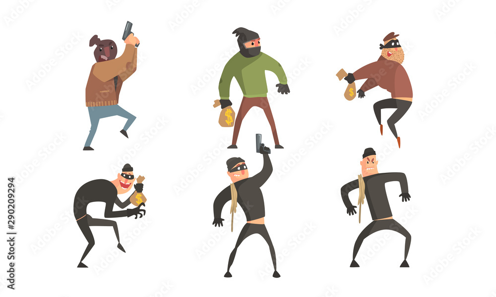 Fototapeta Criminals Characters Set, Masked Robbers Holding Guns and Money Sacks Vector Illustration
