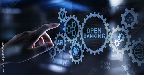 Fotografia Open banking financial technology fintech concept on virtual screen