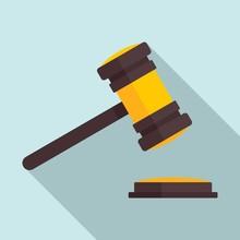 Judge Gavel Icon. Flat Illustr...