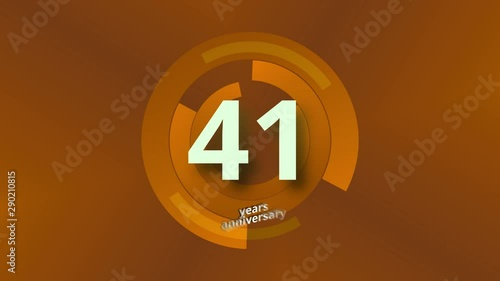 Photo  41 Years Anniversary Digital Tech Circle Gold Background