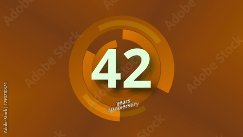 Photo  42 Years Anniversary Digital Tech Circle Gold Background