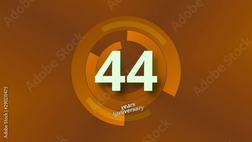 44 Years Anniversary Digital Tech Circle Gold Background Canvas Print