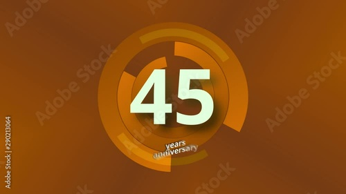 Photo  45 Years Anniversary Digital Tech Circle Gold Background