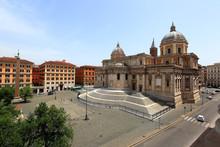 The Basilica Of Santa Maria Maggiore And The Piazza Dell'Esquilino In Rome, Italy