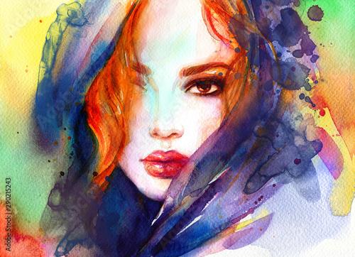 Obraz Piękna twarz kobiety, abstrakcyjna kolorowa akwarela - fototapety do salonu