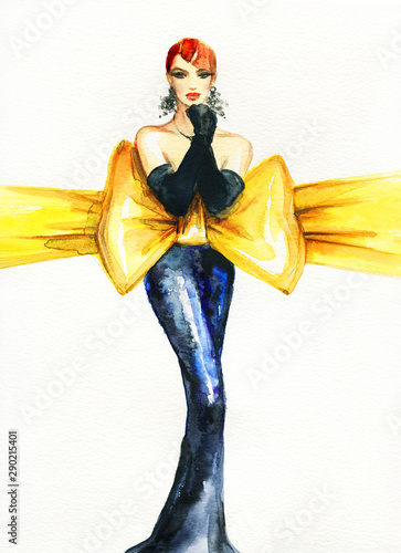 beautiful woman. fashion illustration. contemporary watercolor painting