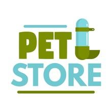 Pet Store Drinker Logo. Flat Illustration Of Pet Store Drinker Vector Logo For Web Design