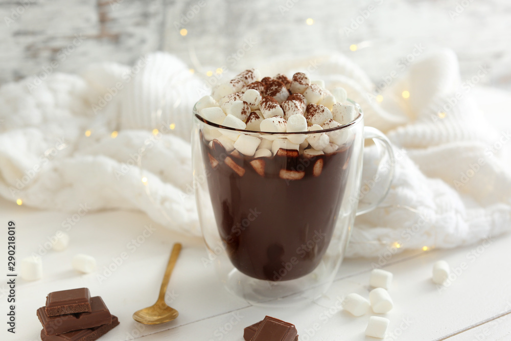 Fototapety, obrazy: Cup of hot chocolate with marshmallows on white table