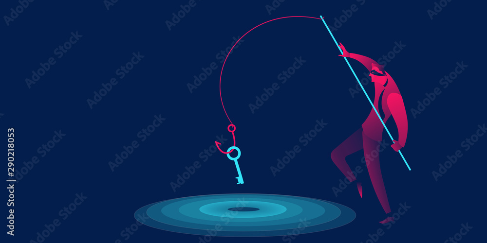 Fototapeta Phishing, scam, hacker business concept in red and blue neon gradients. Man with fishing hook stealing key