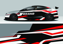 Car Wrap With Colorful Modern Line Vector Design
