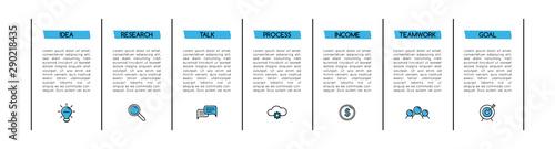 Fototapeta Diagram with 7 steps. Simple infograph. Vector obraz na płótnie
